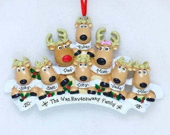 8 Reindeer with Scarves Family / Personalized Christmas Ornament / Large Family / Family of 8 / Hand Personalized