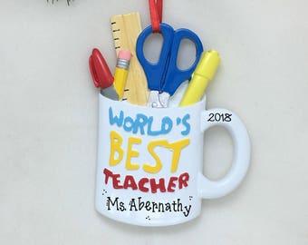 World's Best Teacher Personalized Christmas Ornament / Teacher Mug / Teacher Ornament / Teacher Gift / Best Teacher
