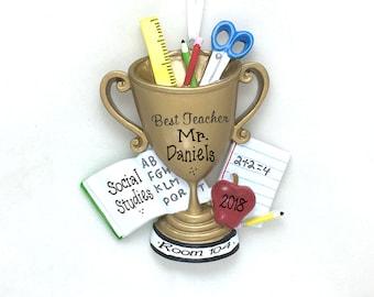 Best Teacher Trophy Personalized Christmas Ornament / Teacher Mug / Teacher Ornament / Teacher Gift / Best Teacher