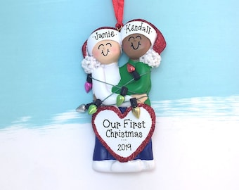 79ca6895294664 Happy Mixed Couple Tangled in Christmas Lights Personalized Christmas  Ornament / White Female / Male of Color / Engaged / First Christmas