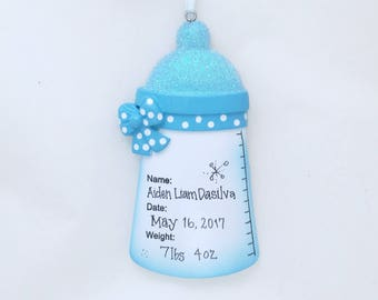 Blue Baby Bottle Personalized  Christmas Ornament /  Baby Boy  / New Baby Ornament / Hand personalized Name, Date, Weight