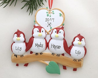 4 Red Birds Ornament / Personalized Christmas Ornament / Family of Four Red Birds / Family Ornament / Names Ornament