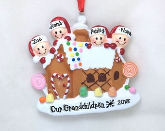 4 Family Gingerbread Personalized Christmas Ornament / Family Ornament / Gingerbread House / Gingerbread Ornament