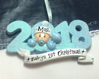 Personalized 2018 Baby Boy Christmas Ornament - Baby's 1st Christmas Ornament / Baby's First Christmas / New Baby Ornament