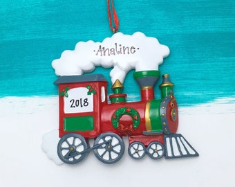 red choo choo train personalized christmas ornament christmas train steam engine christmas ornament personalized