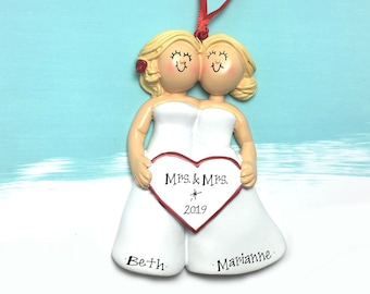 679124eabdcf3f Bride & Bride Personalized Christmas Ornament / Blondes / Same Sex Female  Couple / First Christmas / Personalized Ornament / Girlfriends