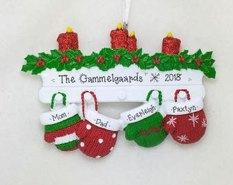 4 Red & Green Family Mittens Ornament / Personalized Christmas Ornament / Family of Four Mittens on Mantel