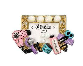 Hair Salon Personalized Christmas Ornament / Beauty Salon / Beautician / Colorist / Stylist/ Personalized Name or Message
