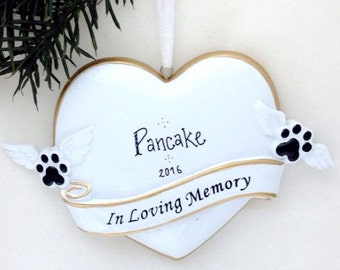 Pet Memorial Personalized Christmas Ornament / Dog Memorial Ornament / Cat Memorial Ornament / In Loving Memory / Heart / Paws