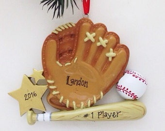 Baseball Christmas Ornament / Personalized Christmas Ornament / Personalized Baseball Ornament / Baseball, Bat, and Glove