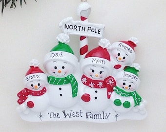 5 Snowmen Personalized Christmas ornament / 5 snowmen North Pole / Snowman family ornament / big family Christmas ornament