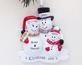 3 Expecting Family Members Christmas Ornament / New Baby Makes Four Snowmen Ornament / New Baby Personalized Ornament / Family of Four