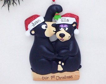 Kissing Under The Mistletoe Personalized Christmas Ornament / Black Bear Couple Ornament / Our First Christmas / Love Ornament