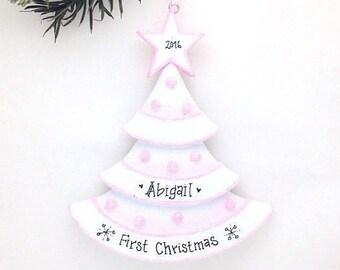 Pink Christmas Tree Personalized Christmas Ornament / Baby's First Christmas / Baby Ornament / Baby Girl