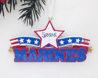 Marines Personalized Christmas Ornament / Armed Forces Ornament / Military Ornament / Hand Personalized Name or Message