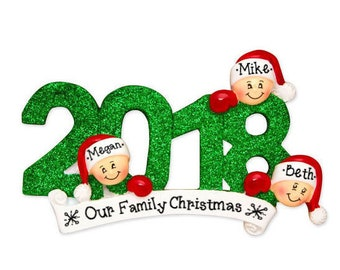 3 Family Members 2018 Ornament / Personalized Christmas Ornament / New Baby Ornament / Our First Christmas