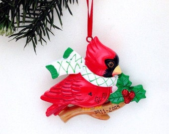 Cardinal Christmas Ornament - Red Cardinal with Scarf  - Personalized Ornament - Custom Name or Message