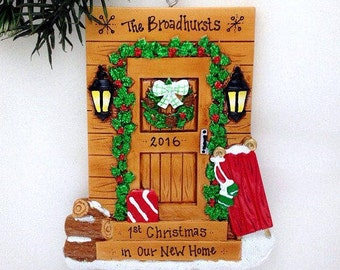 Cabin Door Personalized Christmas Ornament / Log Cabin Ornament / Housewarming / New Home / Ski Trip / Vermont Ornament