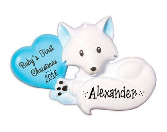 Baby Fox with Blue Heart Personalized Christmas Ornament / Baby's 1st / Baby's First Christmas / Baby Boy / Hand Personalized