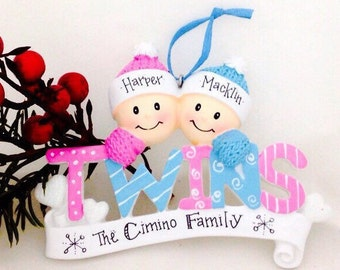 Baby Twins First Christmas Ornament / Boy and Girl Twins / Personalized Baby Ornament / Personalized Ornament / Baby Gift