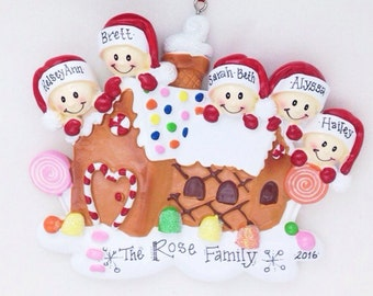 5 Family Gingerbread Personalized Christmas Ornament / Personalized Family Ornament / Gingerbread House Ornament