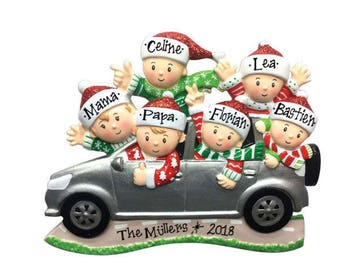 Personalized  6 Family in Car Christmas Ornament / Road Trip Ornament / Family SUV / Hand Personalized with Names and Message