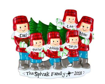 Family of 6 Choosing the Christmas Tree / Personalized Christmas Ornament / Tree Lot / Family Tradition / Hand Personalized