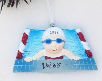 Girl Swimmer Personalized Christmas Ornament / Swimming Ornament / Hand Personalized Christmas Ornament