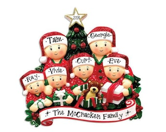 d082eae552b 6 Family Opening Presents Family Ornament   Personalized Christmas Ornament    Hand Personalized   Family of Six