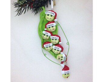 8 Family Peas in a Pod Personalized Christmas Ornament / Family of 8 Ornament / Large Family
