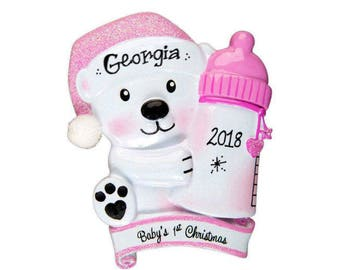 Baby Bear with Pink Bottle Personalized Christmas Ornament / Baby's 1st / Baby's First / Baby Girl / Hand Personalized