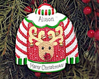 Ugly Sweater Personalized Christmas Ornament / Ugly Christmas Sweater Ornament / Ugly Sweater Party / Gift under 20