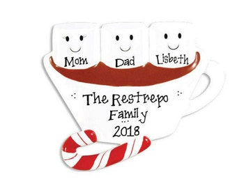 3 Marshmallows Hot Chocolate Family Ornament / Friends Ornament / Triplets / Personalized Christmas Ornament / Hand Personalized