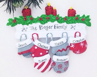 6 Family Mittens Ornament / Personalized Christmas Ornament / Family of Six Mittens on Mantel / Grandchildren