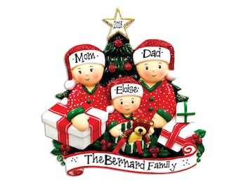 3 family opening presents family ornament personalized christmas ornament hand personalized