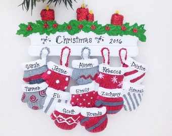 12 Family Personalized Christmas ornament / Large family ornament / 12 mittens / Hand printed custom names