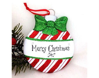 Candy Cane Stripe Christmas Ball Personalized Christmas Ornament / First Christmas / Child's Ornament / Personalized Gift