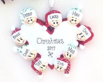 9 Happy Faces Around a Heart / Personalized Christmas Ornament for Family of 9 / Custom names