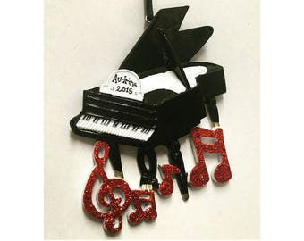 Piano Personalized Christmas Ornament / Grand Piano Ornament / Music Ornament / Musician Ornament