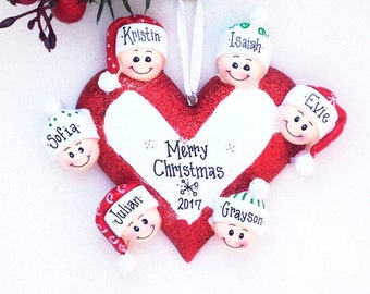 6 Happy Faces Around a Heart / Personalized Christmas Ornament for family of 6 / Custom names