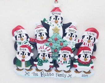 9 Happy Christmas Penguins Personalized Christmas Ornament / Family Christmas / Penguin Family ornament/ 9 Penguin ornament