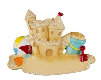 Sand Castle Personalized Christmas Ornament / Beach Ornament / Seashore / Summer Vacation