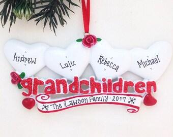 4 Grandchildren Personalized Christmas Ornament / Grandparents Ornament / Grandmother Ornament / Grandfather Ornament