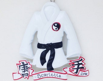 Martial Arts Personalized Christmas Ornament / Karate / Gi / Child Ornament / Toddler Ornament / Black Belt Christmas Ornament