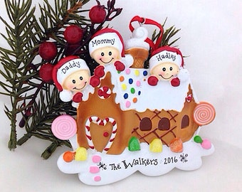 3 Gingerbread Family Christmas Ornament / Gingerbread ornament / Personalized Ornament / Personalized Family Ornament