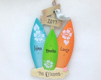 3 Surfboards Personalized Christmas Ornament / Surfing Ornament / Personalized Family Ornament / Beach / Our First Christmas
