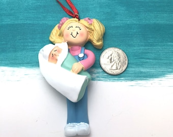 4c36b69c429307 Best Big Sister Personalized Christmas Ornament / Sister Ornament / Blonde  / New Baby / Hand Personalized / Siblings