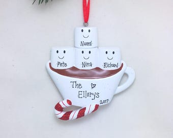 4 Marshmallows Hot Chocolate Family Ornament / Personalized Christmas Ornament / Hand Personalized