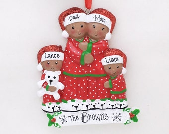 4 Brown Family Members in Pajamas Personalized Christmas Ornament / African American / Family Ornament / Personalized Ornament