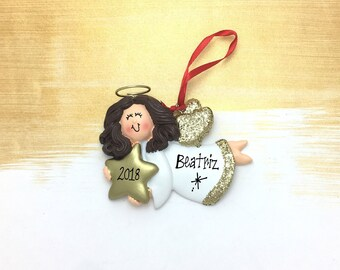 Angel Holding a Falling Star Ornament / Personalized Christmas Ornament / Personalized Toddler Ornament / Personalized Child Ornament